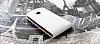 HTC One Dik Kapaklı Beyaz Deri Kılıf - Resim 3