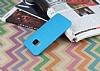 HTC One M9 Deri Desenli Ultra İnce Mavi Silikon Kılıf - Resim 2