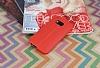 HTC One M9 Deri Desenli Ultra İnce Kırmızı Silikon Kılıf - Resim 1