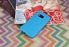 HTC One M9 Deri Desenli Ultra İnce Mavi Silikon Kılıf - Resim 1