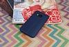 HTC One M9 Deri Desenli Ultra İnce Lacivert Silikon Kılıf - Resim 1