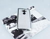 Huawei Mate 9 Taşlı Kenarlı Simli Silver Silikon Kılıf - Resim 1