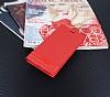 Huawei P Smart Gizli Mıknatıslı Yan Kapaklı Kırmızı Deri Kılıf - Resim 2