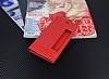 Huawei P10 Gizli Mıknatıslı Pencereli Kırmızı Deri Kılıf - Resim 1
