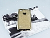 Huawei P10 Lite Taşlı Kenarlı Simli Gold Silikon Kılıf - Resim 2