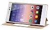 Huawei P10 Pencereli İnce Kapaklı Gold Kılıf - Resim 2