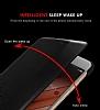 Huawei P10 Pencereli İnce Yan Kapaklı Gold Kılıf - Resim 4