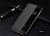 Huawei P10 Pencereli İnce Yan Kapaklı Siyah Kılıf - Resim 6