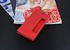 Huawei P10 Plus Gizli Mıknatıslı Pencereli Kırmızı Deri Kılıf - Resim 1