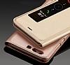 Huawei P10 Plus Pencereli İnce Kapaklı Gold Kılıf - Resim 5