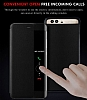 Huawei P10 Plus Pencereli İnce Yan Kapaklı Siyah Kılıf - Resim 4