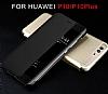 Huawei P10 Plus Pencereli İnce Yan Kapaklı Siyah Kılıf - Resim 5
