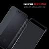 Huawei P10 Plus Pencereli İnce Yan Kapaklı Siyah Kılıf - Resim 1