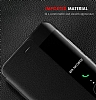 Huawei P10 Plus Pencereli İnce Yan Kapaklı Siyah Kılıf - Resim 2
