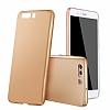 Huawei P10 Plus Tam Kenar Koruma Gold Rubber Kılıf - Resim 6