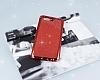 Huawei P10 Taşlı Kenarlı Simli Kırmızı Silikon Kılıf - Resim 2