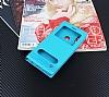 Huawei P20 Lite Gizli Mıknatıslı Pencereli Mavi Deri Kılıf - Resim 2