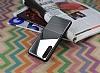 Huawei P20 Pro Silikon Kenarlı Aynalı Metal Silver Kılıf - Resim 1