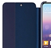Huawei P20 Uyku Modlu İnce Yan Kapaklı Lacivert Kılıf - Resim 1