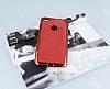 Huawei P9 Lite 2017 Taşlı Kenarlı Simli Kırmızı Silikon Kılıf - Resim 1
