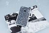 Huawei P9 Lite 2017 Simli Kumaş Silver Silikon Kılıf - Resim 1