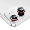iPhone 12 6.1 inç Crystal Taşlı Kırmızı Kamera Lensi Koruyucu