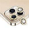 iPhone 11 Pro Max Gold Taşlı Kamera Lens Koruyucu