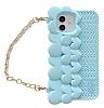 iPhone 12 / 12 Pro 6.1 inç Askılı Kalpli Mavi Silikon Kılıf