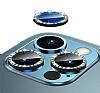iPhone 12 Pro 6.1 inç Crystal Taşlı Siyah Kamera Lensi Koruyucu