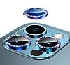 iPhone 12 Pro 6.1 inç Crystal Taşlı Mavi Kamera Lensi Koruyucu