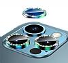 iPhone 12 Pro 6.1 inç Crystal Taşlı Yeşil Kamera Lensi Koruyucu