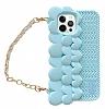 iPhone 12 Pro Max Askılı Kalpli Mavi Silikon Kılıf