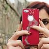 iPhone SE / 5 / 5S Lady G Sert Parlak Kırmızı Rubber Kılıf - Resim 1