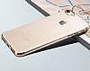 iPhone 6 / 6S Gold Çerçeveli Şeffaf Silikon Kılıf - Resim 1