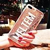 iPhone 6 / 6S Kişiye Özel Simli Sulu Rose Gold Rubber Kılıf - Resim 2