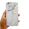 iPhone 6 Plus / 6S Plus Granit Görünümlü Beyaz Silikon Kılıf - Resim 3