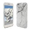 iPhone 6 Plus / 6S Plus Granit Görünümlü Beyaz Silikon Kılıf - Resim 2