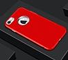 iPhone 7 Metal Kamera Korumalı Kırmızı Silikon Kılıf - Resim 4