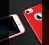 iPhone 7 Metal Kamera Korumalı Kırmızı Silikon Kılıf - Resim 3