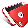 iPhone 7 Metal Kamera Korumalı Kırmızı Silikon Kılıf - Resim 5