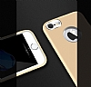 iPhone 7 Metal Kamera Korumalı Gold Silikon Kılıf - Resim 4