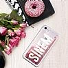 iPhone 7 / 8 Kişiye Özel Simli Sulu Rose Gold Rubber Kılıf - Resim 1