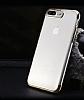iPhone 7 Silver Çerçeveli Şeffaf Silikon Kılıf - Resim 1