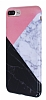 iPhone 7 Plus / 8 Plus Granit Görünümlü Pembe Silikon Kılıf - Resim 3