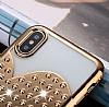 iPhone 7 Plus / 8 Plus Taşlı Kalpli Rose Gold Silikon Kılıf - Resim 4