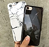 iPhone 7 Plus Granit Görünümlü Beyaz Silikon Kılıf - Resim 1