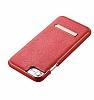 Hoco iPhone 7 Plus / 8 Plus Standlı Deri Kırmızı Rubber Kılıf - Resim 1