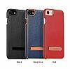 Hoco iPhone 7 Plus / 8 Plus Standlı Deri Kırmızı Rubber Kılıf - Resim 4
