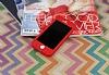 iPhone SE / 5 / 5S 360 Derece Koruma Likit Kırmızı Silikon Kılıf - Resim 1