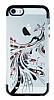 iPhone SE / 5 / 5S Siyah Peacock Taşlı Şeffaf Silikon Kılıf - Resim 3
